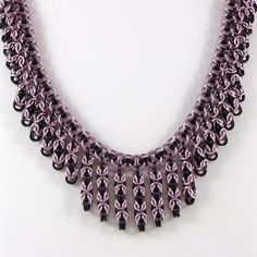 Chainmail Necklace Pink and Black by HCJewelrybyRose on Etsy, $58.00