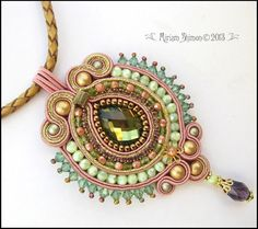 Beaded Soutache pendant in Olive Mauve and Gold by MiriamShimon