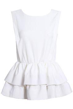 $29 ROMWE | ROMWE Pleated Puff Backless Sleeveless Sheer White Dress, The Latest Street Fashion