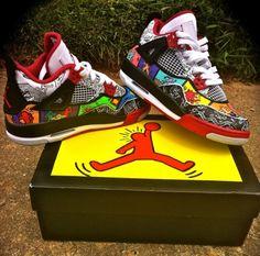 air jordan iv keith haring by district customs Jordan Shoes Girls, Air Jordan Shoes, Jordan Outfits, Custom Sneakers, Custom Shoes, Zapatillas Jordan Retro, Sneakers Fashion, Sneakers Nike, Air Jordan Iv