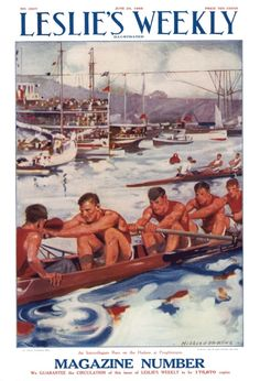 Leslie's magazine cover crew rowing art  poster print SKU1183