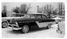 1955 Plymouth on the dealer's lot some 59 years ago.