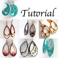 Tutorial for Paper Quilled Jewelry PDF Paisley and Teardrop Earrings and Pendants, links to etsy page to purchase tutorial