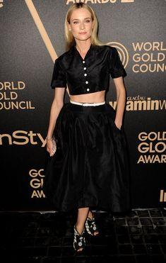 @roressclothes clothing ideas #women fashion Diane Kruger Crushed Black Velvet Crop Top