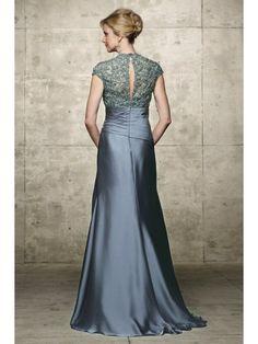 A-line/Princesse Lace Jewel Floor-length Taffeta Mother of the Bride Dress