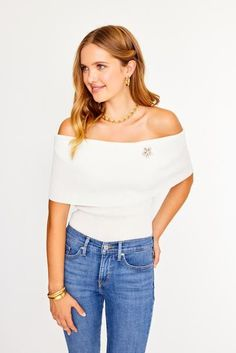 Perez Off Shoulder Top from Sweet & Spark. Shop our clothing and vintage brooch collections now!