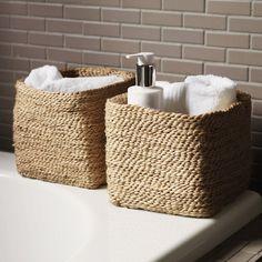 Buy Bathroom > Bathroom Accessories > Small Jute Storage Basket from The White Company Bathroom Baskets, Rustic Bathroom Vanities, Bathroom Small, Bathrooms, Laundry Baskets, White Bathroom, Bathroom Ideas, Bathroom Organisation, Bathroom Storage