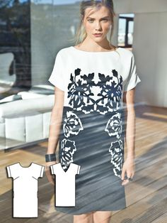 Shift Dress 04/2016 The beautiful print of this dress makes it a standout. It features short sleeves and an open triangle cutout back.