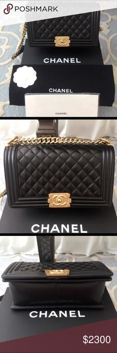 "Chanel Boy Lambskin Black Bag & Gold HW 2016 Condition: 100% Authentic, Brand New with Original Box, Authenticity Card, Dustbag, & Receipt | Made in France | Retail price: $4,700 | Approx Measurements: 6"" H x 10"" W x 3"" D - Strap Drop 11.5""  💰ONLY TAKING PAYMENTS THROUGH GOOGLE WALLET   🚫PLEASE TEXT ME @ 312-620-3513 BEFORE DOING ANYTHING🚫 🚫$2000 IS MY LOWEST🚫 CHANEL Bags Mini Bags"