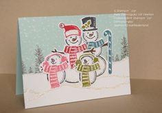 christmas card creation Meet my snowman family! Stamped Christmas Cards, Christmas Cards To Make, Noel Christmas, Xmas Cards, Holiday Cards, Snow Place, Winter Karten, Snowman Cards, Stamping Up Cards