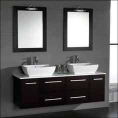 63 inch Solid Wood & Porcelain Double Sink Vanity Set with Polished Chrome Faucets
