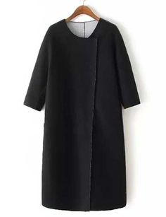 #fashion #accessories Minimalist Seaming Trim Longline Wool Coat in Black   Black by Moda Tendone - WoolCoat Black, Clothes, Fashionable, Women, WoolCoat