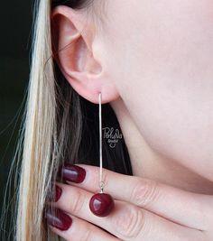 Silvery Threader Earrings Cherry-Berry - Pull through earrings - Minimal Chain earrings - Gifts For Women - round berries earrings