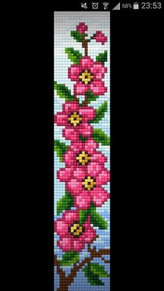 Flower beaded picture Peyote Beading Patterns, Loom Bracelet Patterns, Bead Loom Bracelets, Beaded Jewelry Patterns, Bead Loom Patterns, Loom Beading, Flower Patterns, Cross Stitch Patterns, Cuff Bracelets