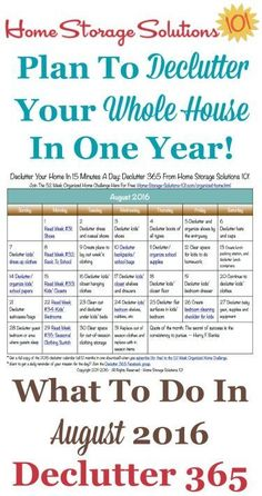 Free printable August 2016 decluttering calendar with daily 15 minute missions. Follow the entire Declutter 365 plan provided by Home Storage Solutions 101 to declutter your whole house in a year.