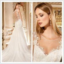 Moda Lace Tulle vestido de noiva 2014 colher ver através voltar vestido de noiva casamento personalizado YH292(China (Mainland))