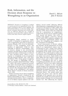 Risk, Information, and the Decision about Response to Wrongdoing in an Organization - Springer