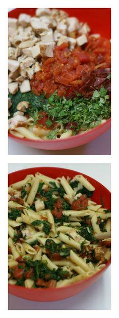 Hot Chicken and Bacon Florentine Pasta Salad | 5DollarDinners.com