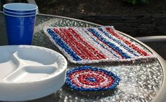 Plarn Placemats and Coasters Crochet Pattern | Petals to PicotsPetals to Picots   could use cotton yarn