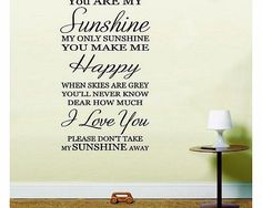LightningSigns You are my sunshine inspirational quote Nursery Rhyme Lounge Bedroom Wall Art Sticker Decal HSSW1 (B PLEASE SEND A MESSAGE WITH COLOUR REQUIRED OR BLACK WILL BE SENT (Barcode EAN = 5055631014488). http://www.comparestoreprices.co.uk//lightningsigns-you-are-my-sunshine-inspirational-quote-nursery-rhyme-lounge-bedroom-wall-art-sticker-decal-hssw1-b.asp