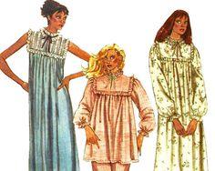Granny Nightgown Pattern Modest Pajamas Pyjamas Pattern McCalls 7804 Size 6 8 UNCUT by TheOldLeaf on Etsy