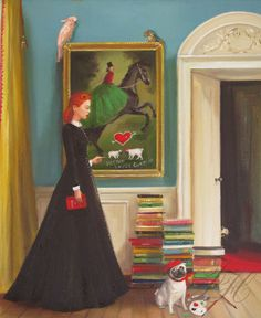 Miss Moon Was A Dog Governess.  Lesson Three:  Respect The Property Of Others. Art Print. $ 26.00, via Etsy. | by Janet Hill