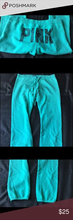 Victoria's Secret Pink Line Sweatpants Embellished Original style. Rear Embellished. Color teal. Excellent condition normal pulling from washing. PINK Victoria's Secret Pants Track Pants & Joggers