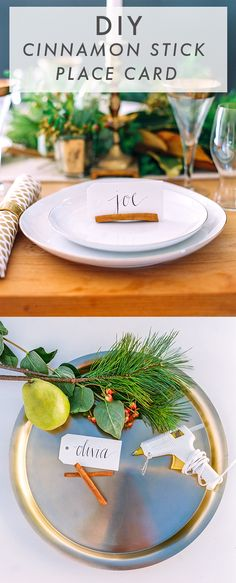 DIY holiday place card holder using cinnamon sticks // A simple, natural DIY for the table #cokestyle #entertaining