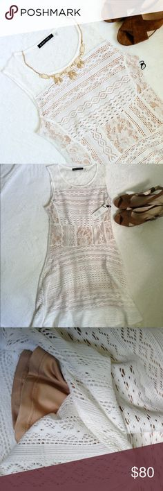lace dress Summer stunner! Snag this gorgeous cream lace dress with nude lining and be set for every possible event, from bridal showers to brunch to poolside soirees! Sleeveless, crew neck, hidden zip on side. Fully lined except for exposed lace from chest up to neckline. Brand new with tags (and I really hate to part with it, but it's just not my style and I purchased it from a local boutique with a tight 7-day return policy). Size small. boutique Dresses