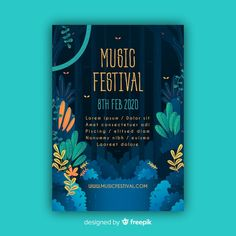 Tropical music festival poster template Free Vector You are in the right place about Music Festival vibes Here we offer you the most beautiful pictures about the Music Festival banner you are looking Event Poster Design, Graphic Design Posters, Flyer Design, Flat Design Illustration, Digital Illustration, Flyer Promo, Concert Posters, Event Posters, Music Festival Posters