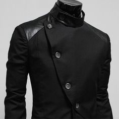 (HBJ-BLACK) Mens casual unbalance button jacket blazer BLACK