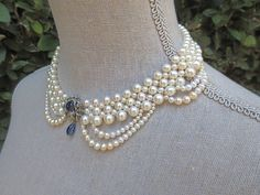 Woven Draping Pearl Necklace with Sapphire and Diamond Clasp Centerpiece by Marina J Jewelry