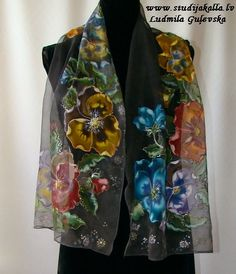 Natural silk shawl - floral, black-gray, hand painted scarf, rainbow colored pansies
