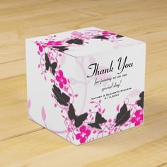 Grey Pink Purple Bouquet Trail Wedding Favors - These beautiful Thank You wedding favor boxes are simple, clean and neutral in style with a grey, pink, purple and white color scheme. They feature a trail of grey butterflies and pink and purple vines all over with very faint pink, swirly vines in the background on white. Pack beautifully decorated favors into this box to present to your guests. Also find matching tasty reception treats and gifts in my store!
