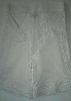 Vintage Vassarette White Girdle Lace Double Chiffon Tummy Panel Firm Hold XL EUC #Vassarette