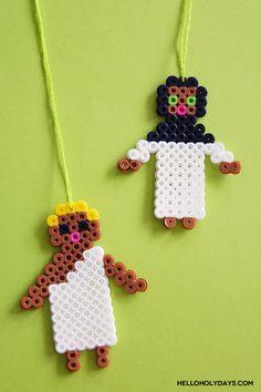 DIY Eid al Adha Jewelry by Hello Holy Days! Pilgrim shaped necklaces using Perler beads! Easy Perler Bead Patterns, Diy Perler Beads, Perler Bead Art, Diy Eid Gifts, Diy For Kids, Crafts For Kids, Eid Party, Eid Al Adha, Kindergarten Crafts