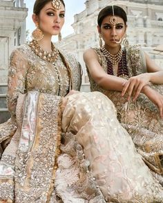Neha Rajpoot and Fatima Ejaz Gleaming in Saira Shakira Summer Couture, Ideal for Summer Weddings Photographed by Jewellery Credits : Models ✨ Pakistani Couture, Pakistani Bridal Dresses, Pakistani Outfits, Indian Dresses, Indian Outfits, Pakistani Clothing, Indian Attire, Indian Wear, Asian Bridal