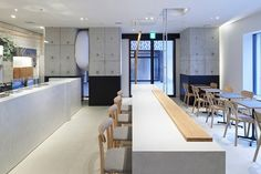 located in the nakameguro district, the simple interior provides a blank canvas for the addition of quirky decoration and soup-influenced terrazzo flooring. Simple Interior, Cafe Interior, Kitchen Interior, Cafe Restaurant, Restaurant Design, Soup Bar, Terrazzo Flooring, Shop Interiors, Retail Design