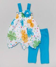 Look at this #zulilyfind! Turquoise Floral Handkerchief Tunic & Leggings - Toddler & Girls #zulilyfinds