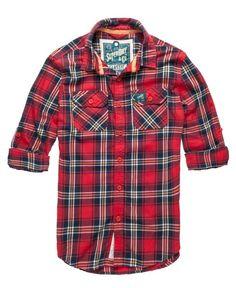 Superdry Lumberjack Twill Shirt - Aqualine Orange