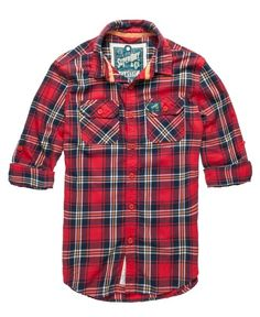 Superdry Lumberjack Twill Shirt - Aqualine Orange