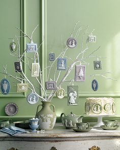 Jasperware Ornaments. I'm liking the idea for the cake in the background.