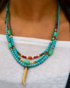 Triple Strand Colorful Asymmetrical Necklace by uniquebeadingbyme