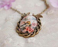 Vintage style glass floral bird pendant necklace