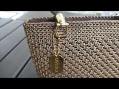 Diy Crafts - Handmade crochet tote with pearl black coloured yarn from Korea, embellished with gold plated steel hardware. Crochet Bag Tutorials, Crochet Videos, Crochet Handbags, Crochet Purses, Crochet Cord, Crochet Shell Stitch, Purse Handles, Purse Patterns, Knitted Bags