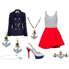 Cute Nautical Outfit I just made. <3 You can get all the matching jewelry on ebay (brand is Betsy Johnson), and there is a cute tank top at Walmart for 3.88 that has the stripes looking like ropes with hearts in them randomly.
