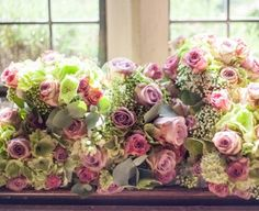 Dusky pink and green bouquets