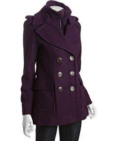 Womens Double Breasted Luxury Green Wool Blend Coat Jacket Peacoat ...