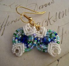 Etsy Transaction - Earrings Done In Blue and Green MicroMacrame, KnotJustMacrame