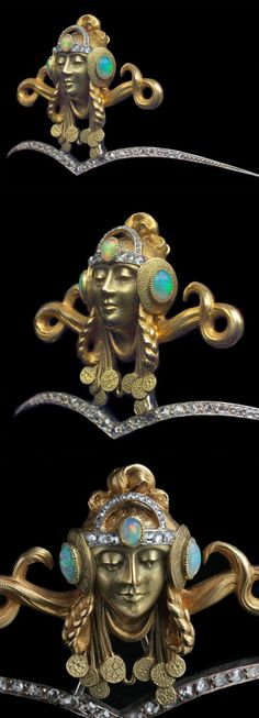 ART NOUVEAU DIADEM Mucha style Byzantine Princess Gold Opal Diamond H: 4.2 cm (1.65 in) W: 10.6 cm (4.17 in) Marks: Crab mark French, c.1900 Fitted Case The diadem can also be worn as a pendant by unscrewing the reverse, The diadem is unmarked, but undoubtedly French and possibly by Georges Fouquet or Maison Vever.  | JV